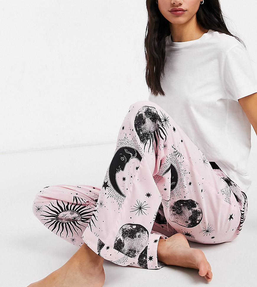 ASOS DESIGN Tall mix & match astrology 100% modal pyjama trouser in pink