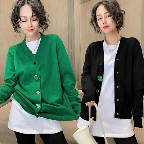 針織開衫寬鬆V領綠石排扣毛衣外套韓版新款女172H466紅粉佳人