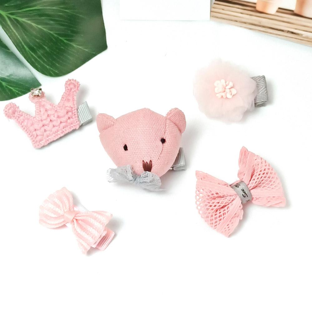 韓系安全髮夾 禮盒五件組 保護寶貝細嫩肌膚 粉小熊皇冠【CH003A2202】