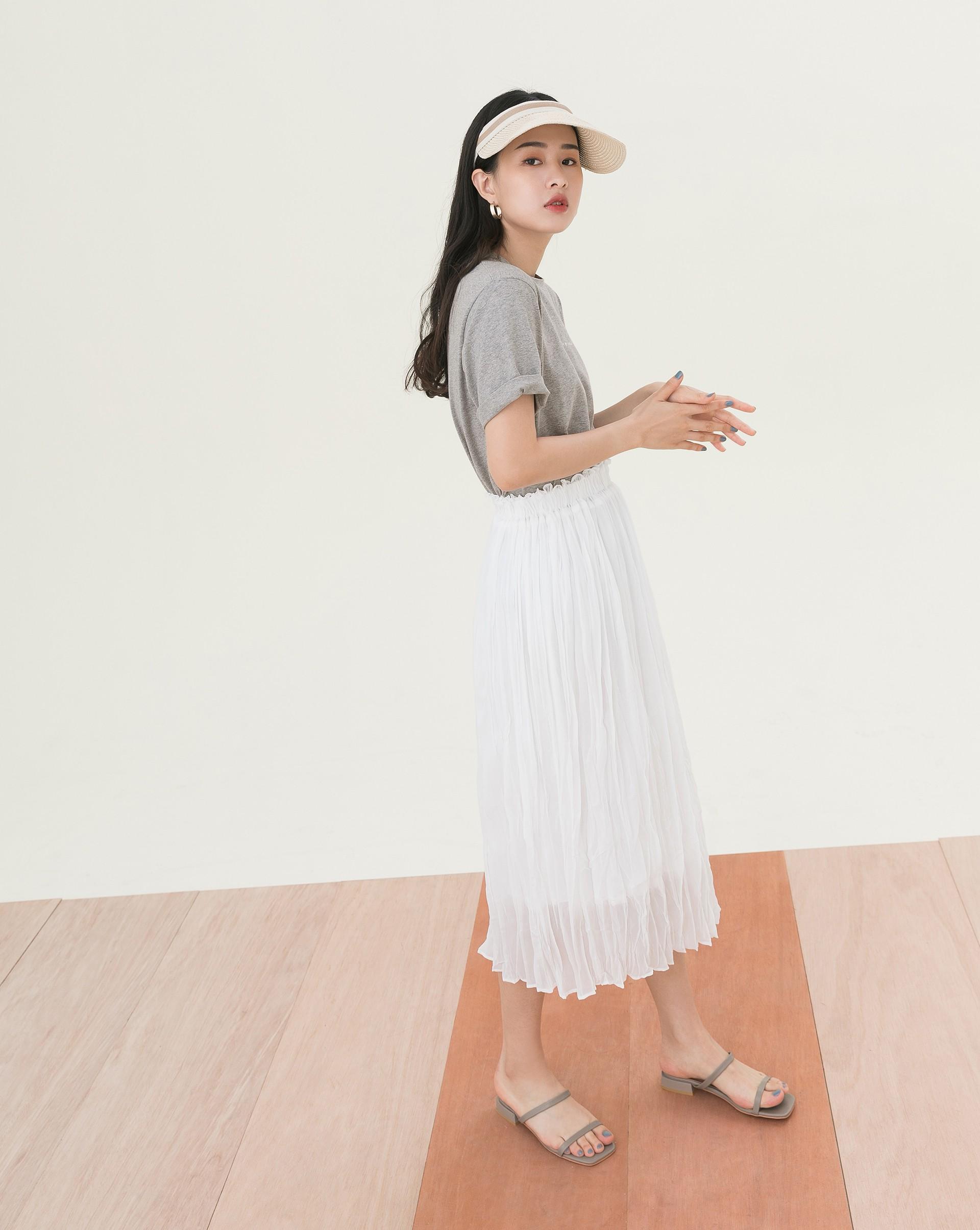 時髦皺皺飄逸長裙-Meierq