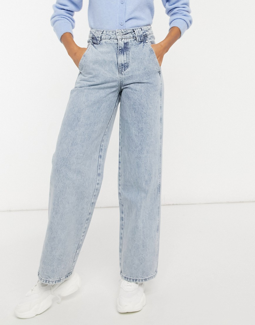 Lost Ink high waist vintage fit jeans with panels in mid wash-Blue