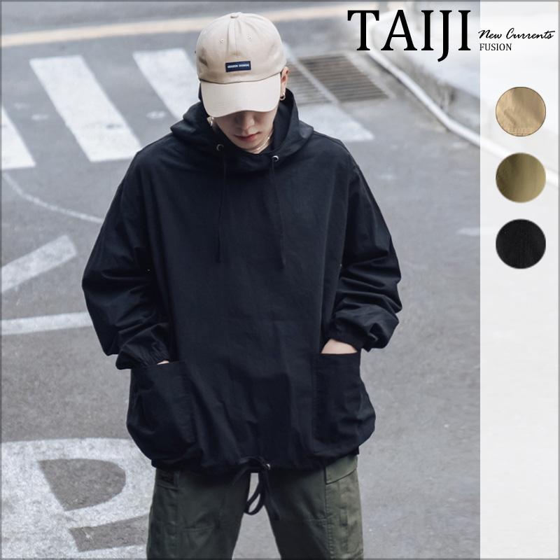 工裝套頭風衣‧大口袋下擺抽繩寬鬆潮流工風帽T半開襟外套‧3色【NTJBHM5】-TAIJI
