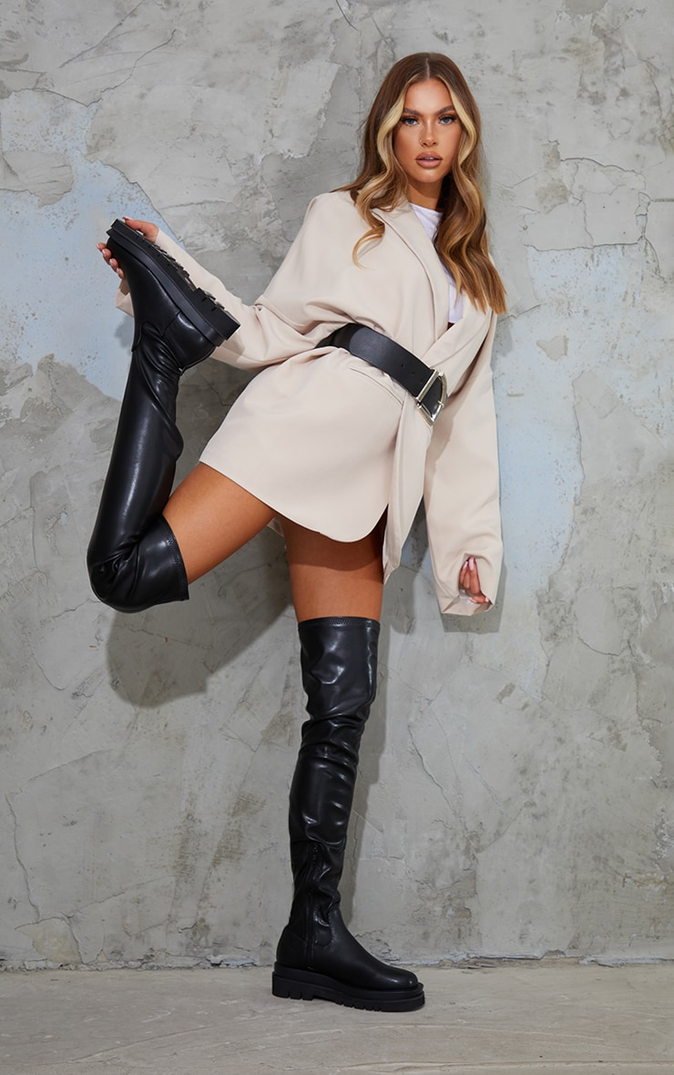 Black Double Sole Over The Knee Boots