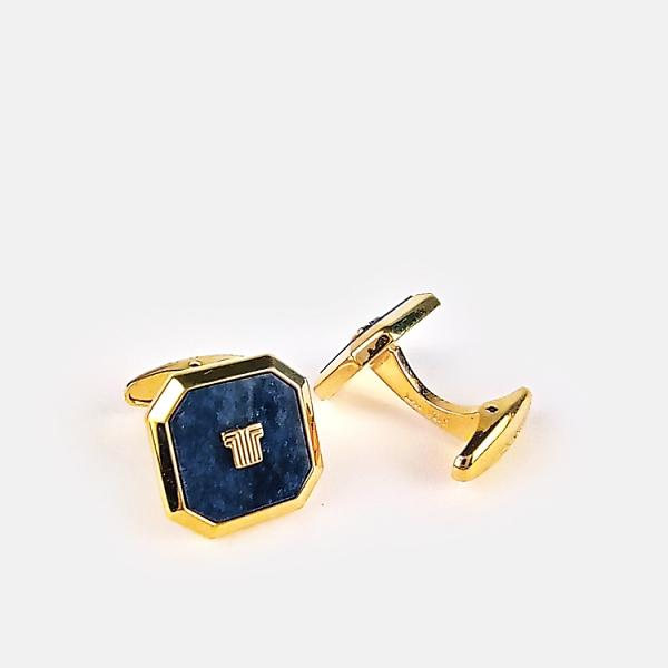 LANVIN經典LOGO金屬方形袖扣(藍金色)880062-15