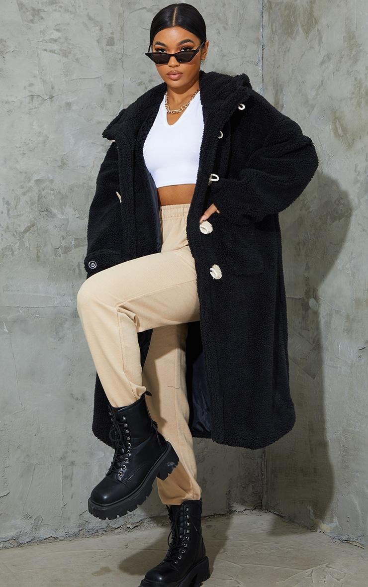 Black Faux Fur Teddy Toggle Maxi Coat