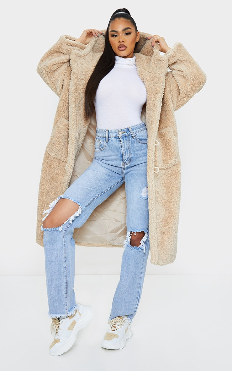 Sand Faux Fur Teddy Toggle Maxi Coat