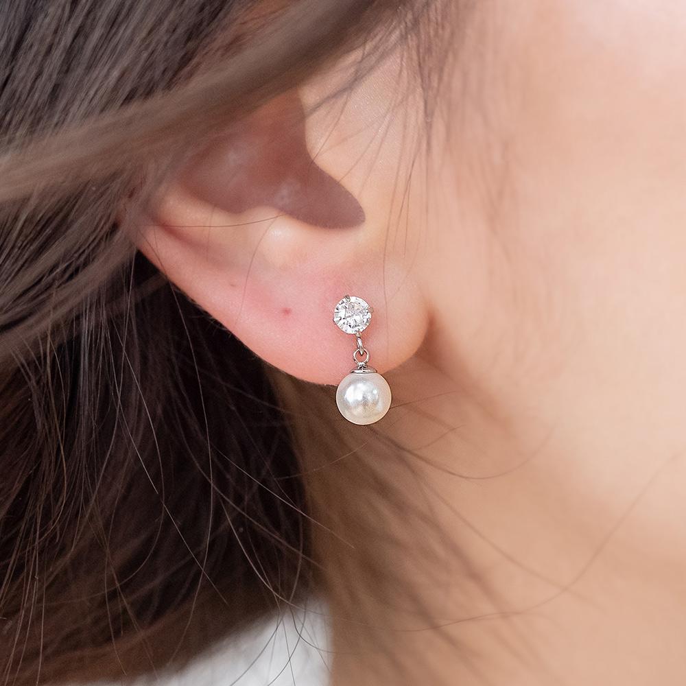 小珍珠搖曳水鑽316醫療鋼針耳環-A40012