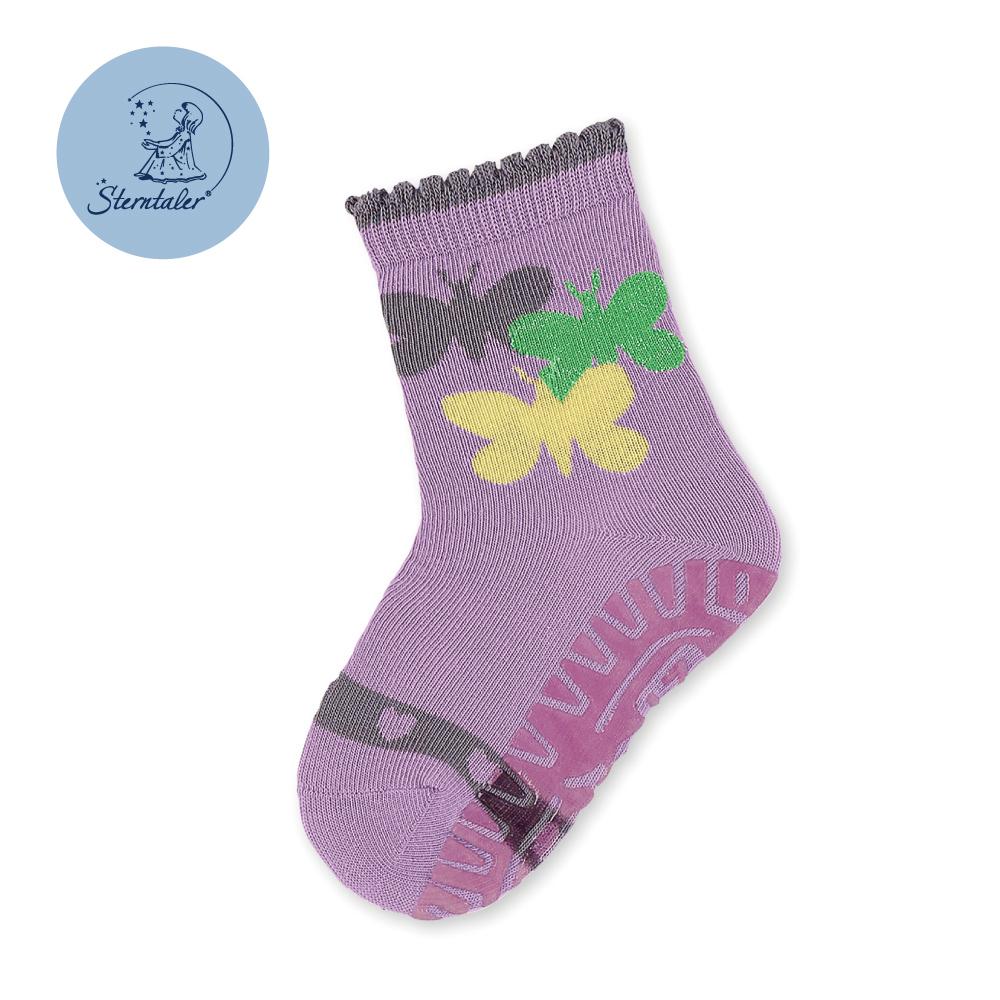 STERNTALER 防滑輕薄學步襪子-彩蝶紫(9-11cm)  C-8021608-636