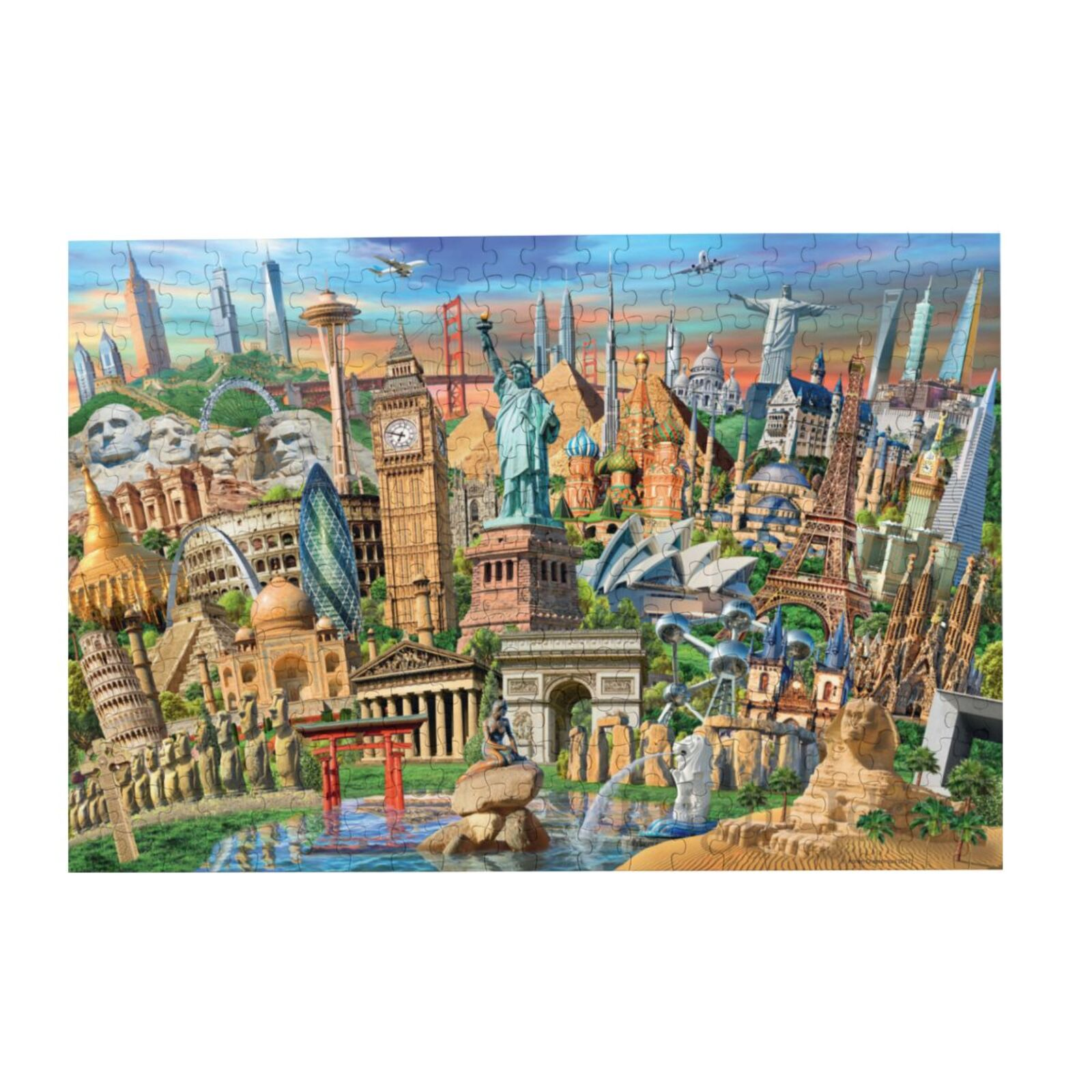 世界地標繪畫拼圖紙拼圖拼圖1000件風景拼圖教育益智木制益智玩具裝潢拼圖遊戲禮品