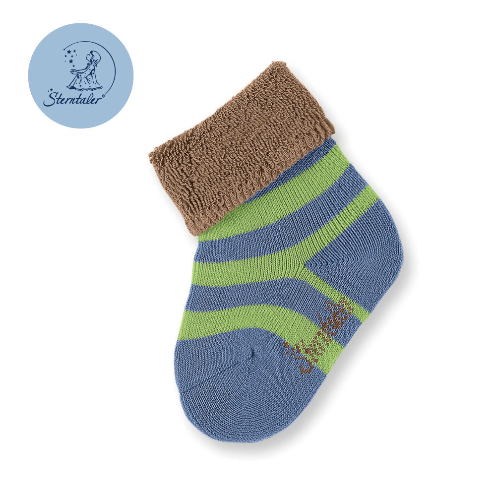STERNTALER 雙色條紋初生襪子8cm-棕綠紫