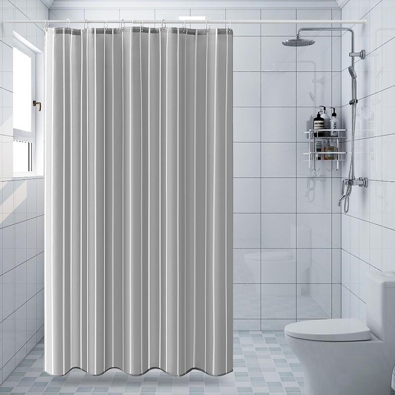 ☄☢浴室浴簾防水布套裝免打孔加厚防霉掛簾洗澡簾子衛生間隔斷簾門簾
