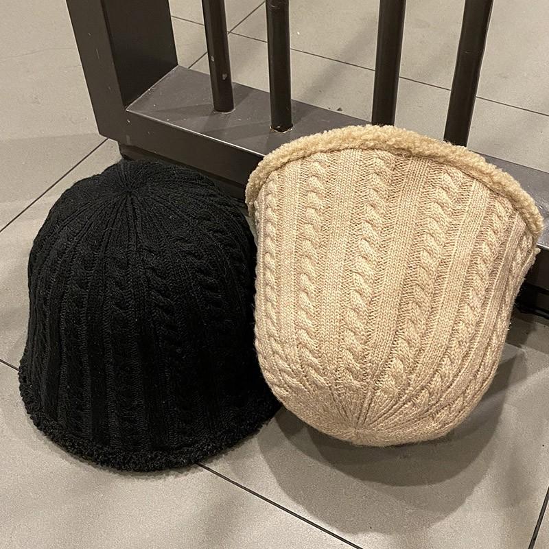 韓國ins粗條紋羊羔絨漁夫帽子女秋冬百搭時尚顯臉小眾水桶盆帽潮