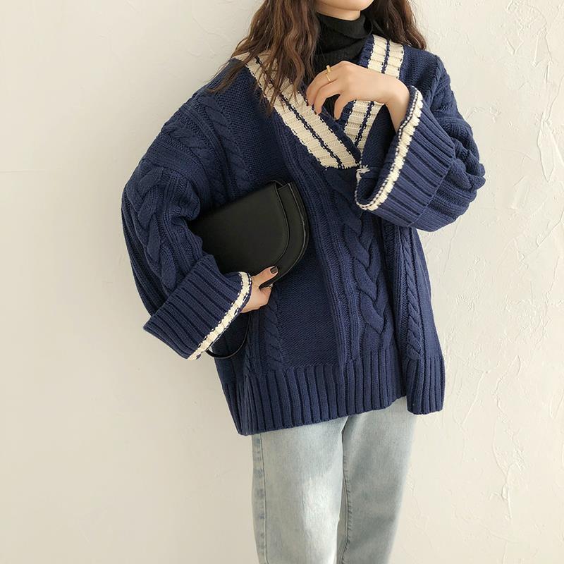 韓版拼色加厚v領毛衣女學生秋冬學院風寬松百搭復古麻花針織外套