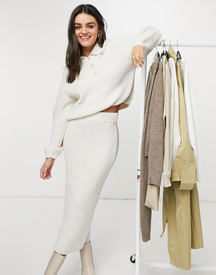 ASOS DESIGN co-ord knitted midi skirt in cream-White