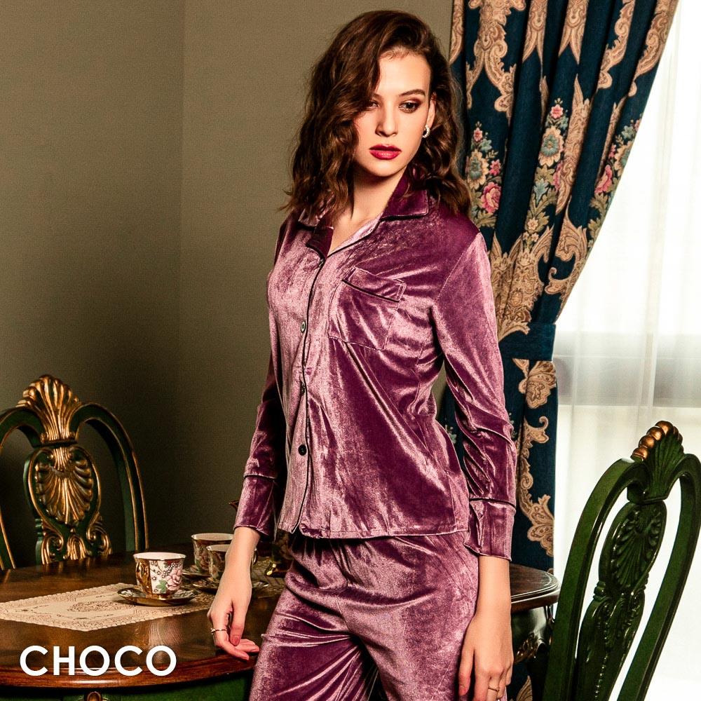 光燦舒活.舒棉長袖開襟絲絨成套睡衣(紫色) M~XL  Choco Shop