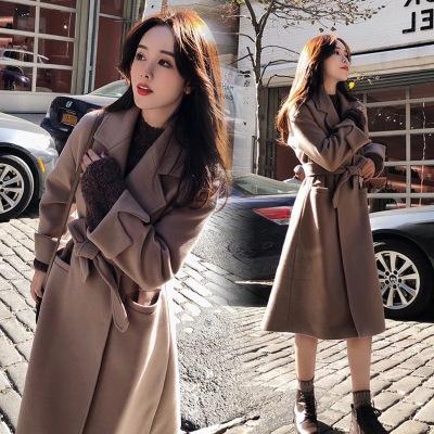 毛呢外套女中長款學生韓版2020秋冬裝學生學院風過膝雙面毛呢大衣