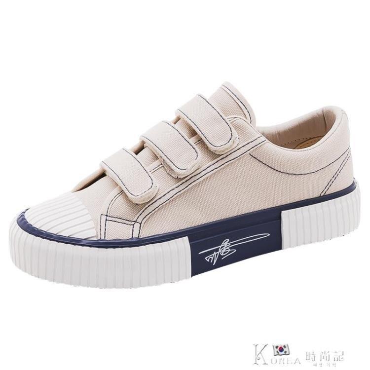 帆布鞋 ddoo夏季爆款魔術貼帆布鞋女鞋2020年新款韓版ulzzang百搭板鞋子