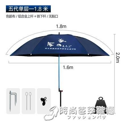 釣魚傘 2.2米大釣傘雙層萬向防雨風加厚漁傘垂釣遮陽傘[優品生活館]
