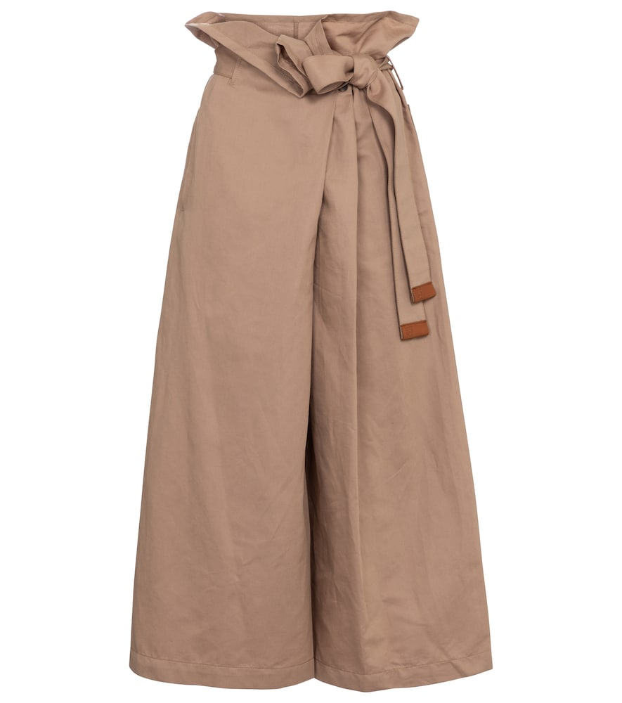 Cotton and linen cropped paperbag pants