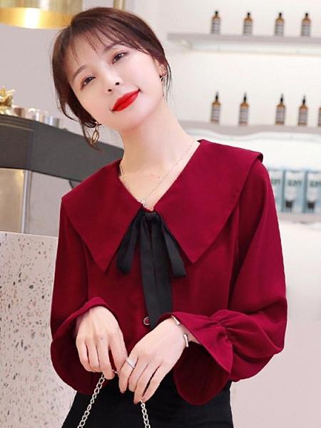 娃娃領上衣女春裝2021年新款時尚本命年紅色雪紡襯衫百搭洋氣小衫 韓國時尚 618