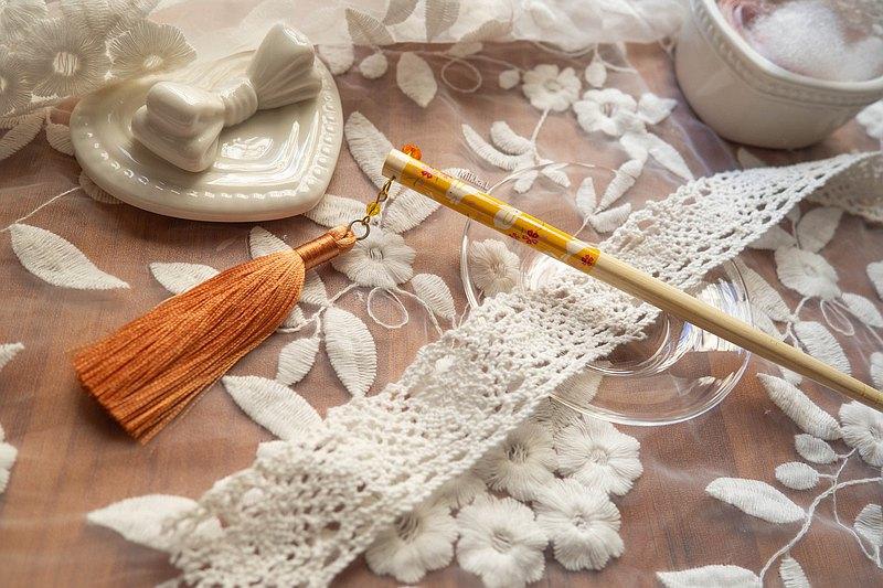 古風純手工 炫彩流蘇穗子 竹製兔子櫻花筷子髮簪 現貨