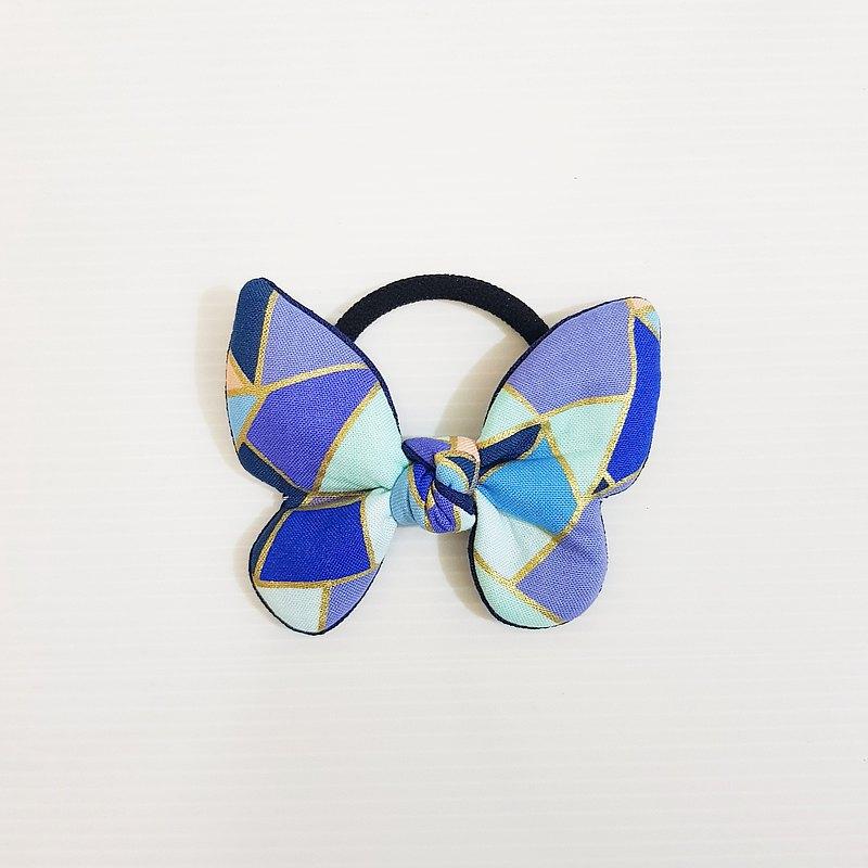 【璀璨-深藍】 獨家 經典款!!! 蝴蝶結 造型髮圈