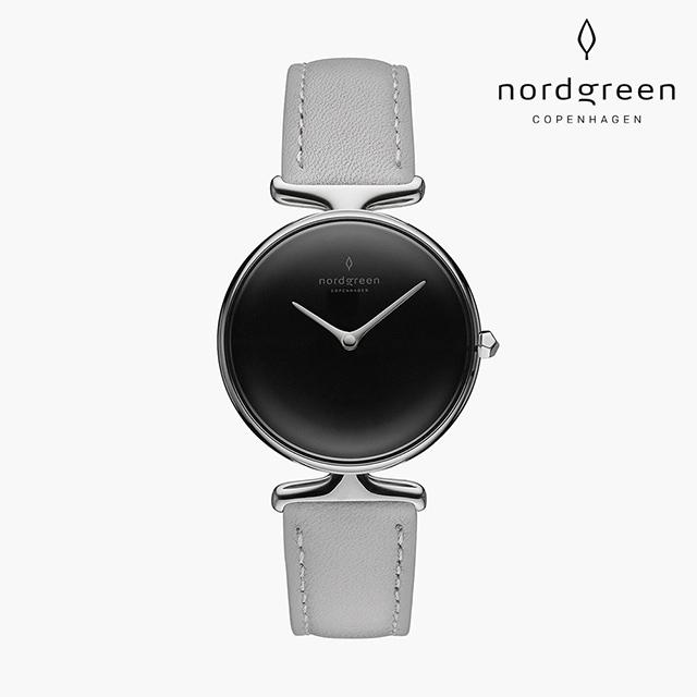 【Nordgreen】Unika  獨特 月光銀系列 北極灰真皮錶帶手錶 32mm
