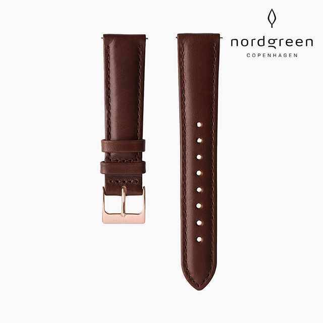 【Nordgreen】   深棕真皮錶帶  玫瑰金 20mm
