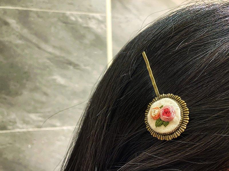 歐式玫瑰復古髮夾 刺繡髮夾 刺繡髮飾