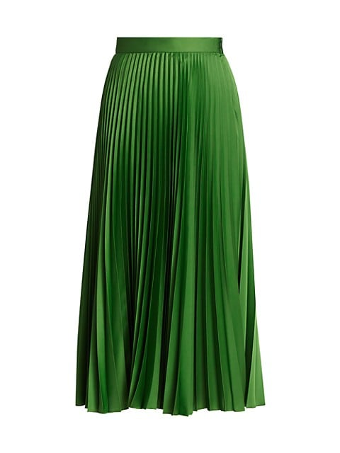 Plissé Satin Midi Skirt