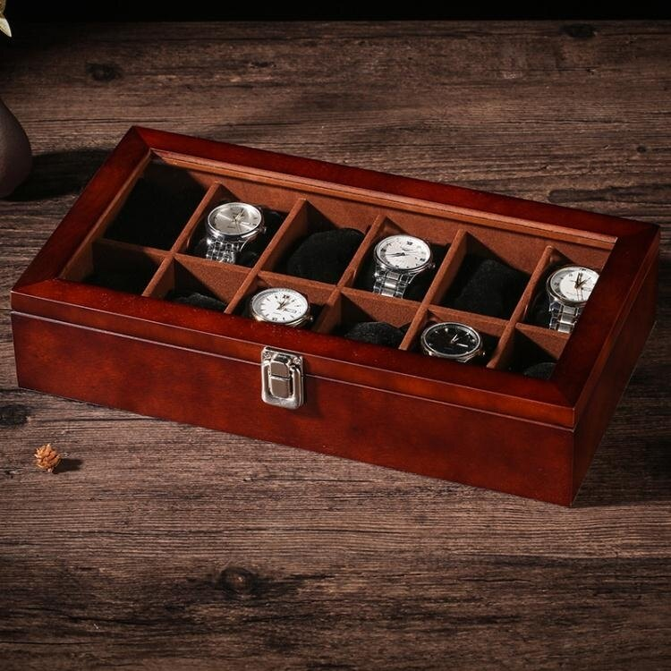 木質天窗手表盒木制手表收納盒子多表位收藏盒展示盒帶鎖扣12表位[優品生活館]