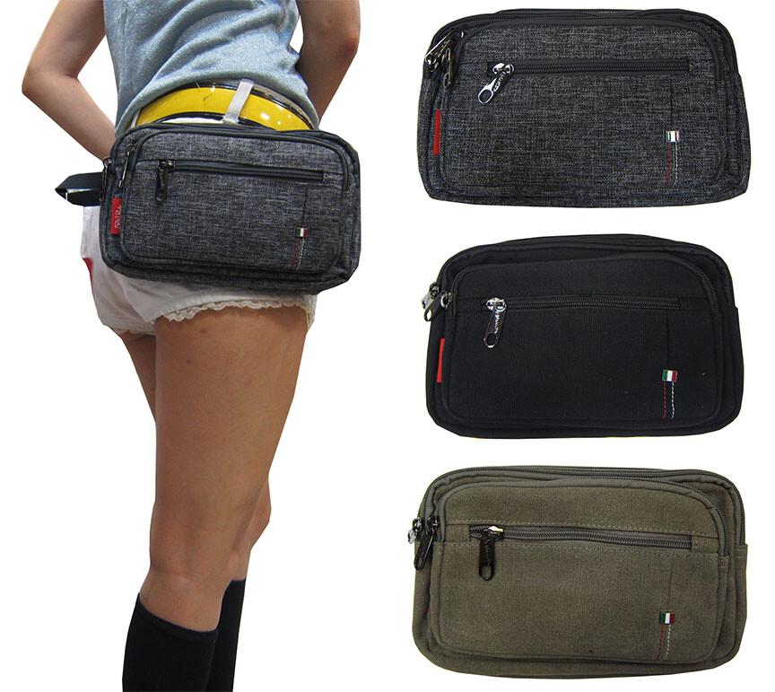 腰包中容量主袋+外袋共五層工作運動隨身品防水帆布可腰肩斜背mp3耳機孔男女適用