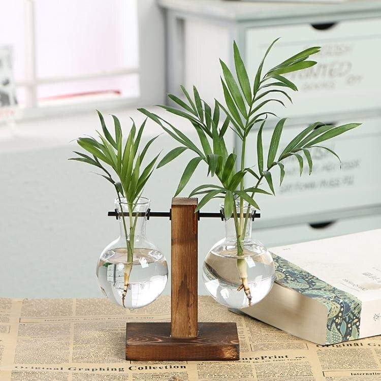 花瓶 創意木架水培植物玻璃瓶花瓶透明水養綠蘿插花器皿桌面擺件工藝品-快速出貨