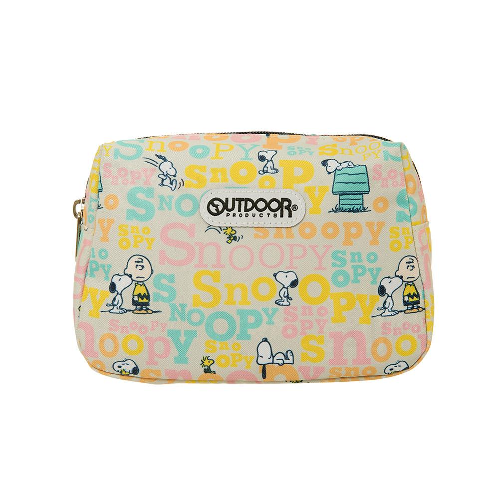 【OUTDOOR】SNOOPY聯名款字母版化妝包-奶茶色 ODP19E04BE