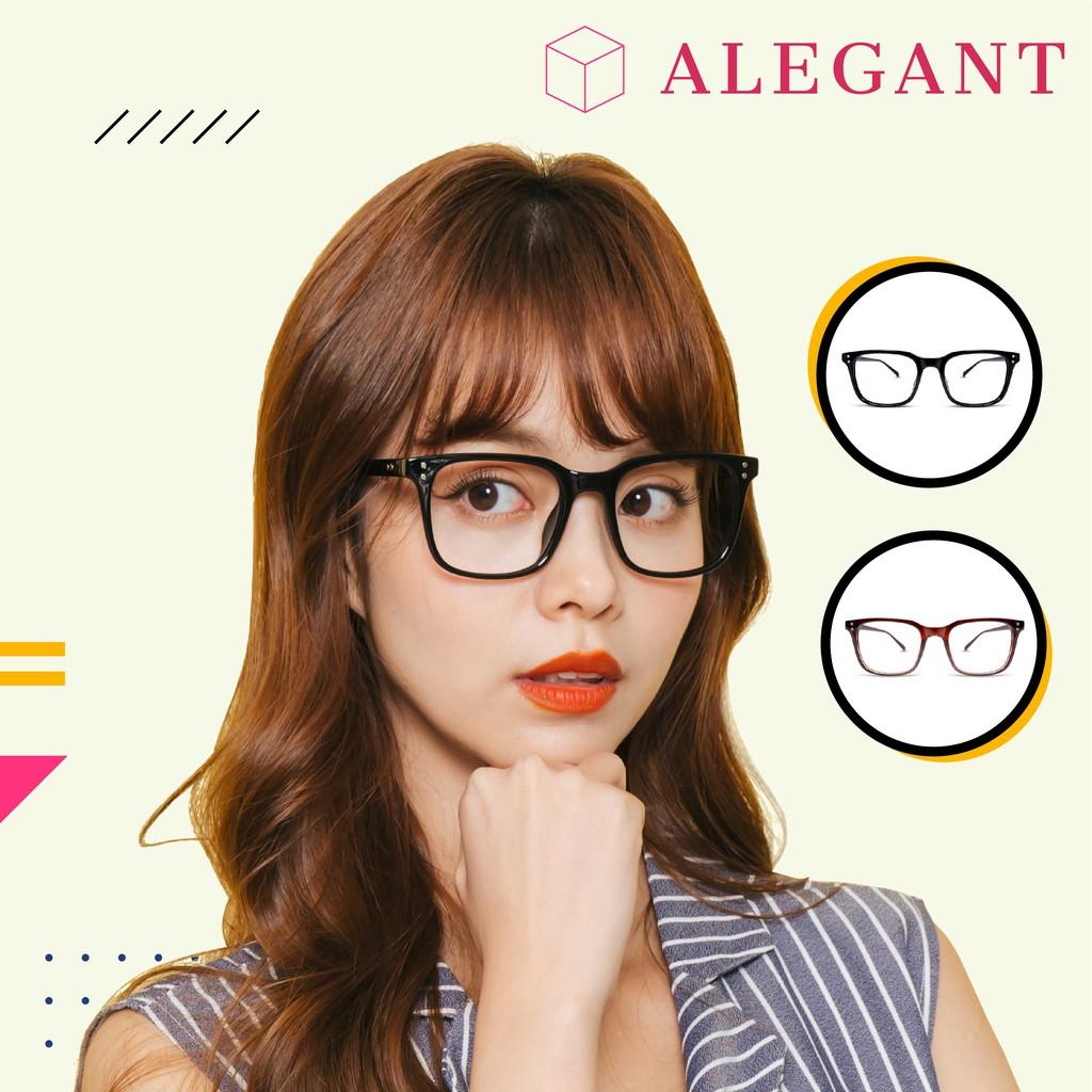 ALEGANT日系簡約設計金屬裝飾UV400輕量TR90方框濾藍光眼鏡