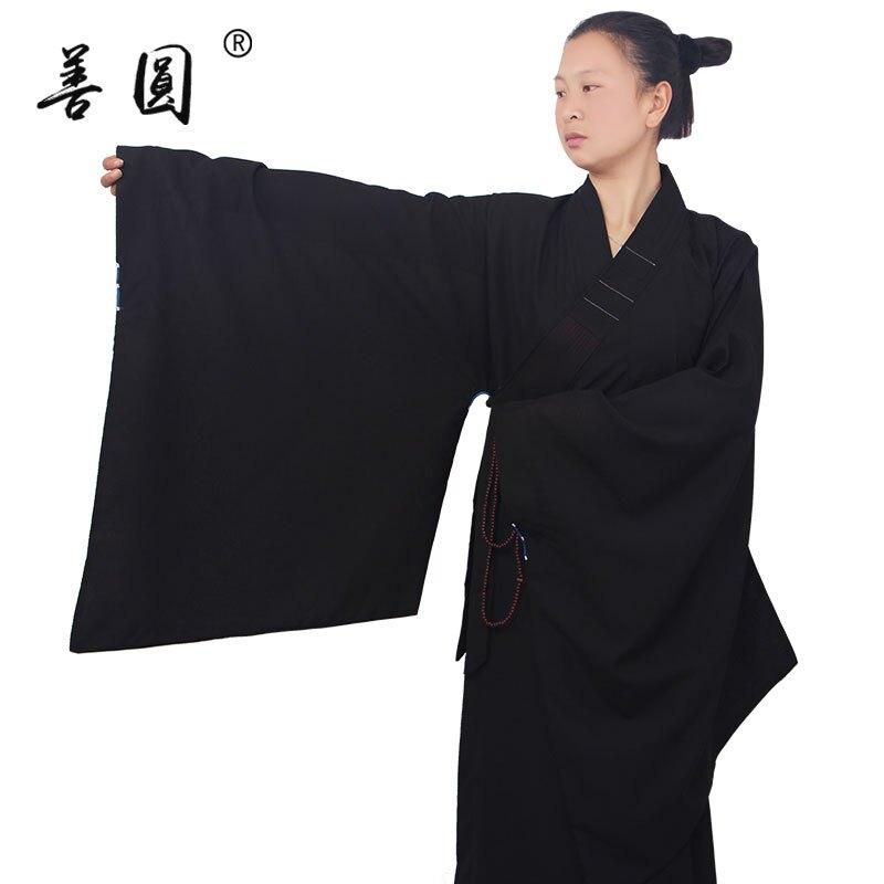 善圓海青居士服男女同款夏季高檔長袍大褂佛教海清僧服和尚衣秋季