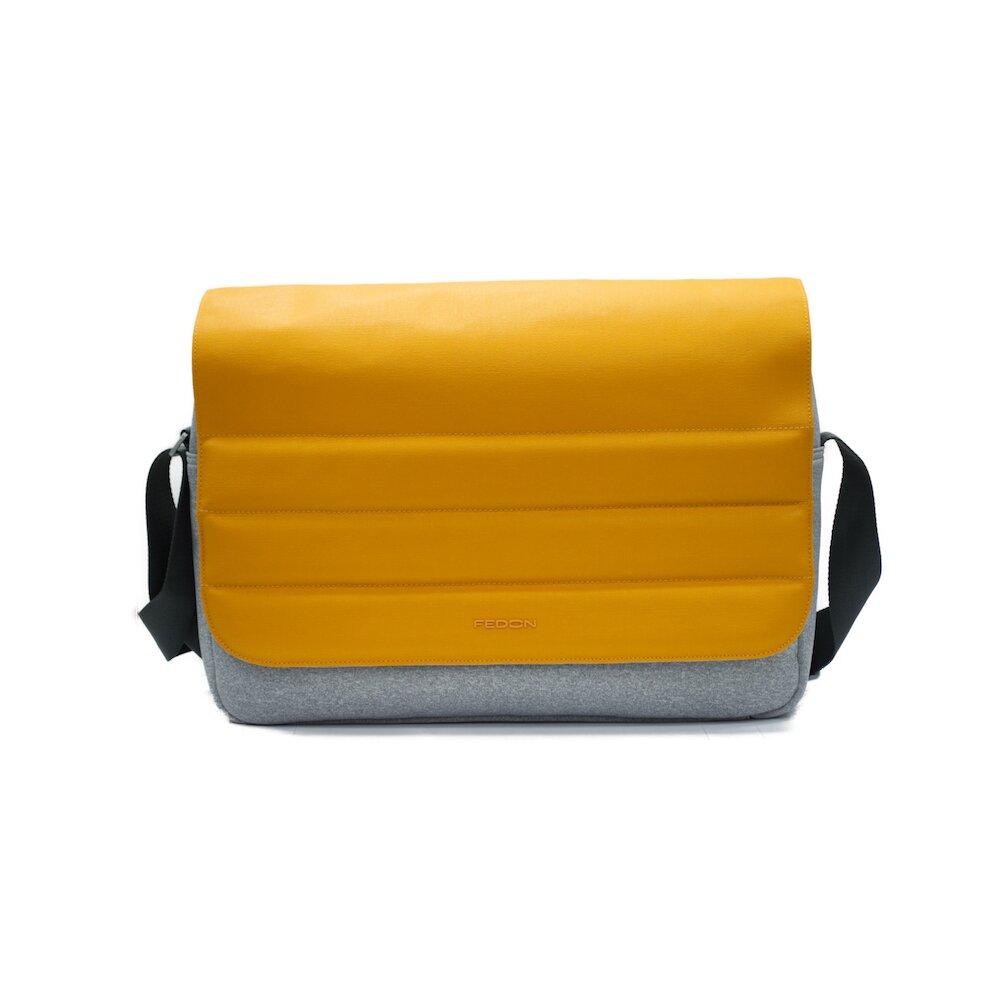 【GIORGIO FEDON 1919】Ninja 輕便側揹雙色13吋電腦包-蜂蜜黃