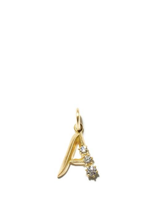Jade Trau - Diamond & 18kt Gold Initial Charm (a-m) - Womens - Yellow Gold