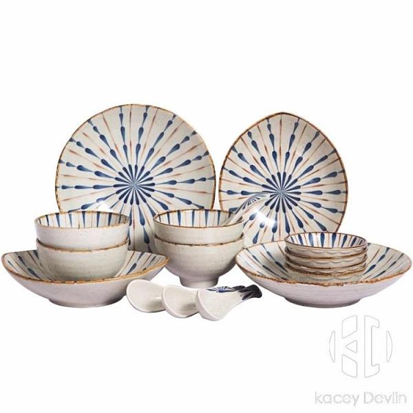 陶瓷水滴16頭釉下彩餐具套裝日式高溫瓷器家用飯碗湯碗菜盤碟子勺子套裝【Kacey Devlin】