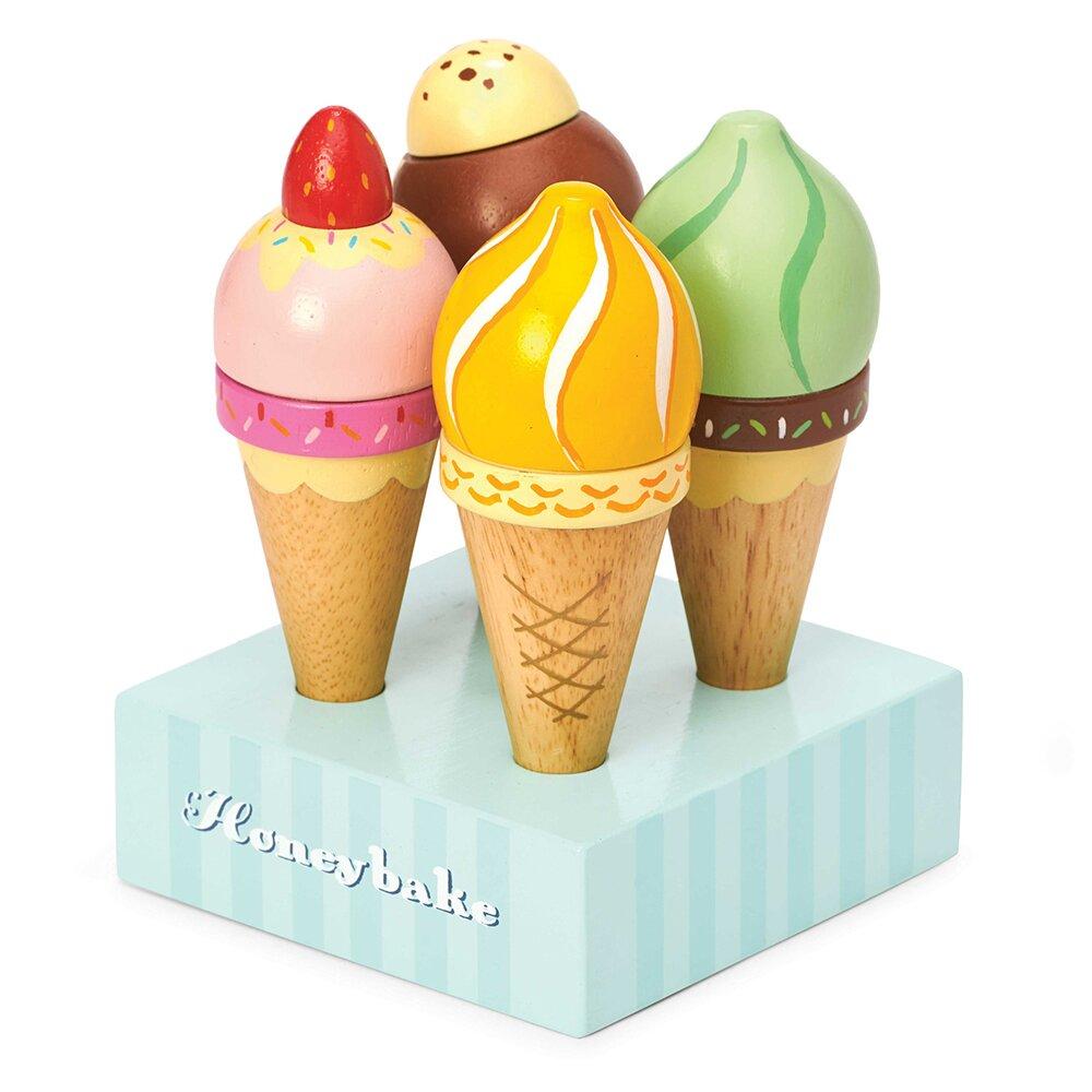 英國 Le Toy Van 角色扮演系列-甜筒冰淇淋木質玩具組(TV328)