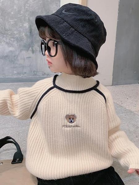 女童上衣 女童高領毛衣兒童卡通針織衫童裝新年線衣上衣韓2021冬裝新款【快速出貨八折下殺】