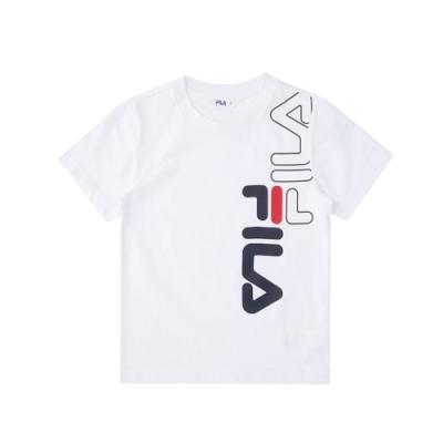 FILA KIDS 童短袖圓領上衣-白 1TEV-4502-WT
