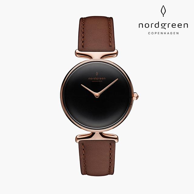 【Nordgreen】Unika  獨特 玫瑰金系列 深棕真皮錶帶手錶 32mm