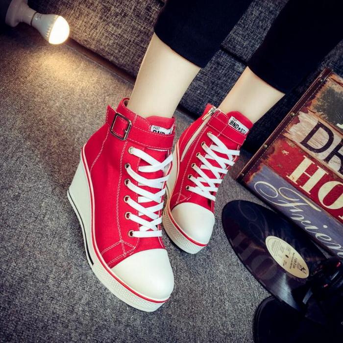Vivilian純色簡約休閒超輕便楔形高筒帆布鞋 紅