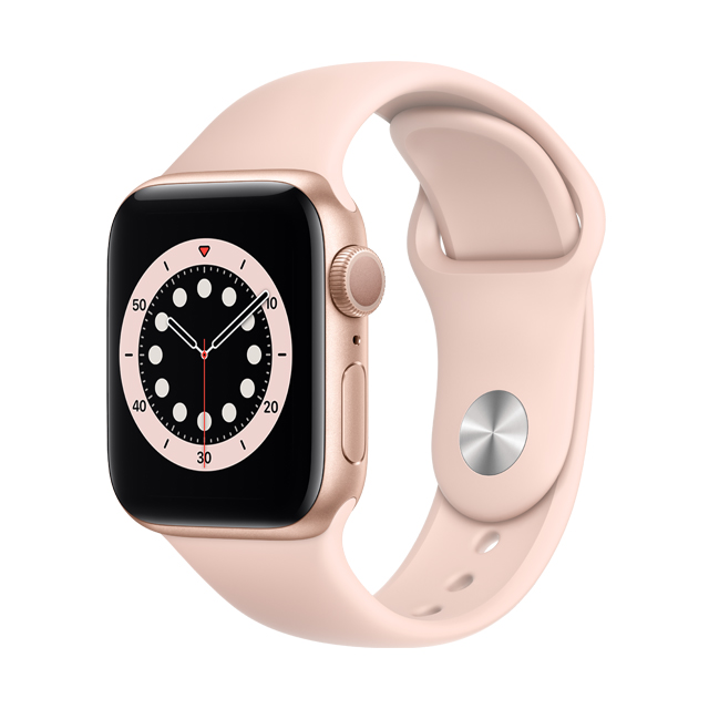 Apple Watch S6 GPS, 40mm Gold Aluminium Case with Pink Sand Sport Band