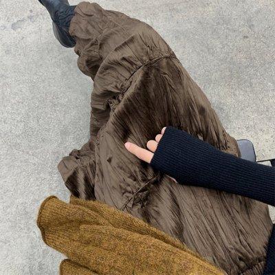 韓國連線 【D0165】皺皺的絲絨裙!~chic韓國氣質鬆緊腰細緻絲絨A字長裙 預購