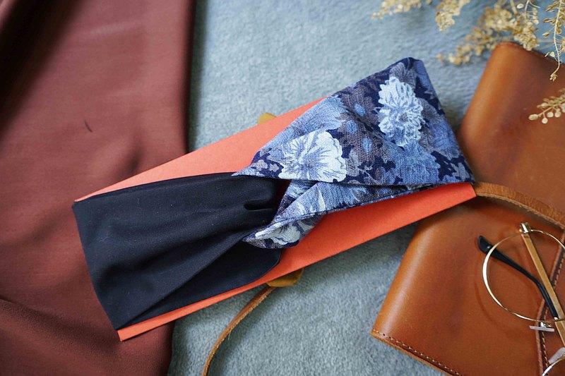 日式配布兩用雙頭交叉打結髮帶-古典花卉深藍