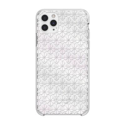 【kate Spade】iPhone 11 Pro 手機保護殼/套-黑桃白花+白色鑲鑽