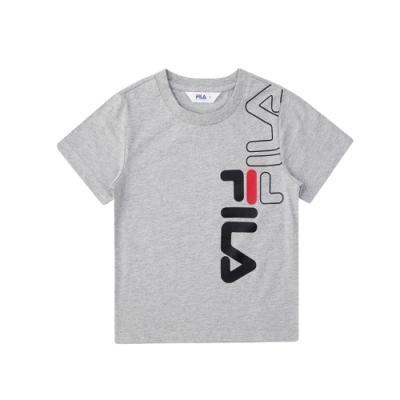FILA KIDS 童短袖圓領上衣-麻灰 1TEV-4502-MY