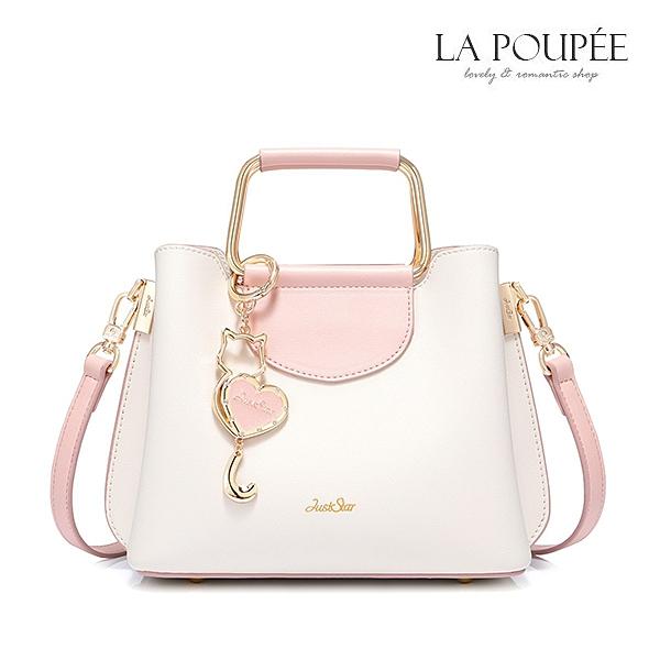 手提包 精緻輕甜美貓咪掛飾側背方包 2色-La Poupee樂芙比質感包飾 (預購)
